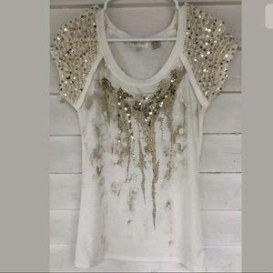Miss me gold sequin white medium top short sleeve